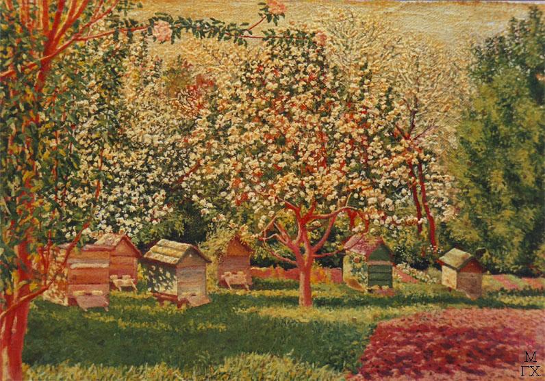 М.И. Климентов. Картина : Цветение яблонь. Масло, холст. 21х13.