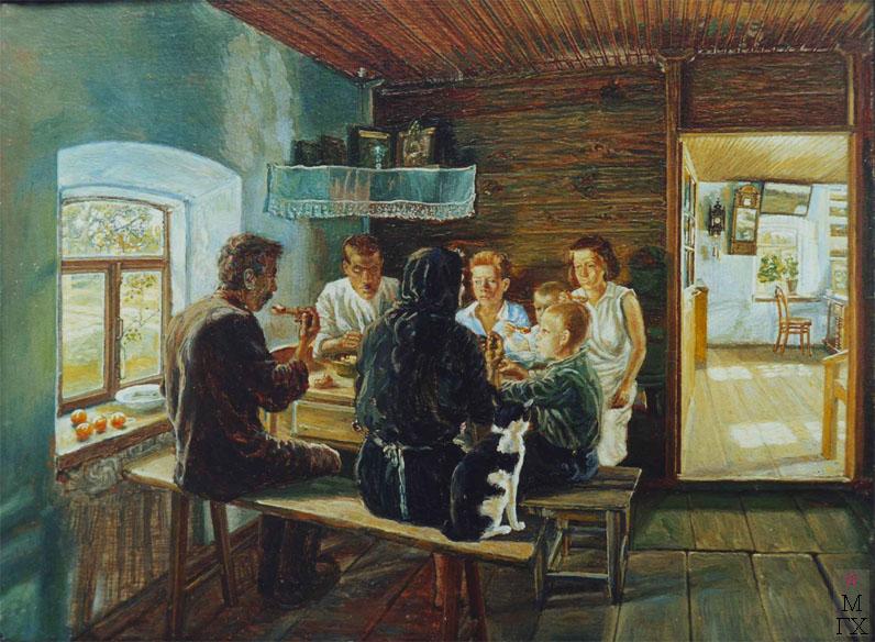 М.И. Климентов. Картина : Семья за обедом. Масло, холст на картоне 1932 год., 18х23,5.