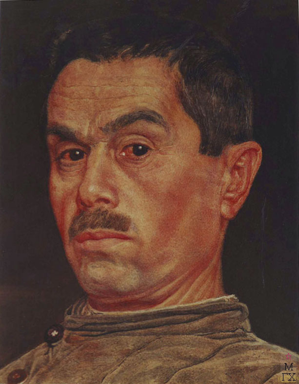 М.И. Климентов. Картина : Автопортрет в фуфайке. 1945 г. акварель, 27х21,5.