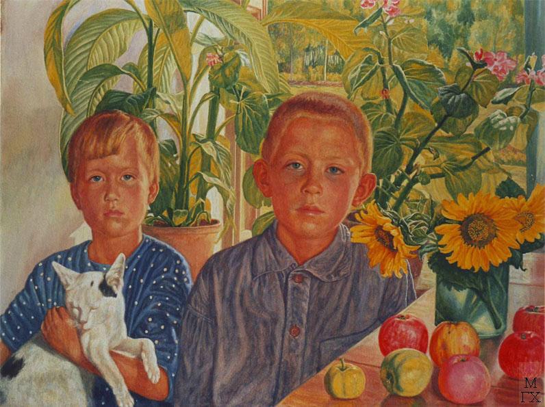 М.И. Климентов. Картина : Дети с кошкой( Таня и Сережа, племянники художника). 1939 год. Акварель. 50,5х67,5