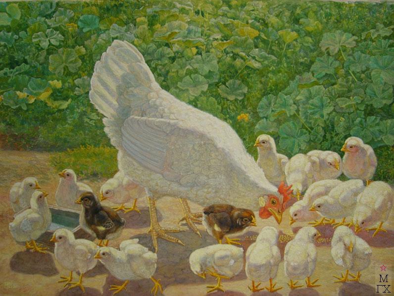 М.И. Климентов. Картина : Курица с цыплятами. 1938 год. Акварель. 67х50
