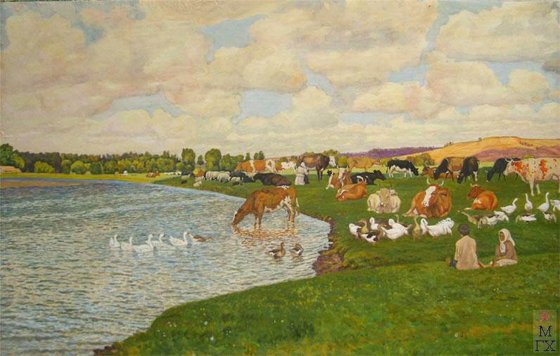 М.И. Климентов. Картина : Стадо у реки.1922 год. Акварель. 68,8х40,2