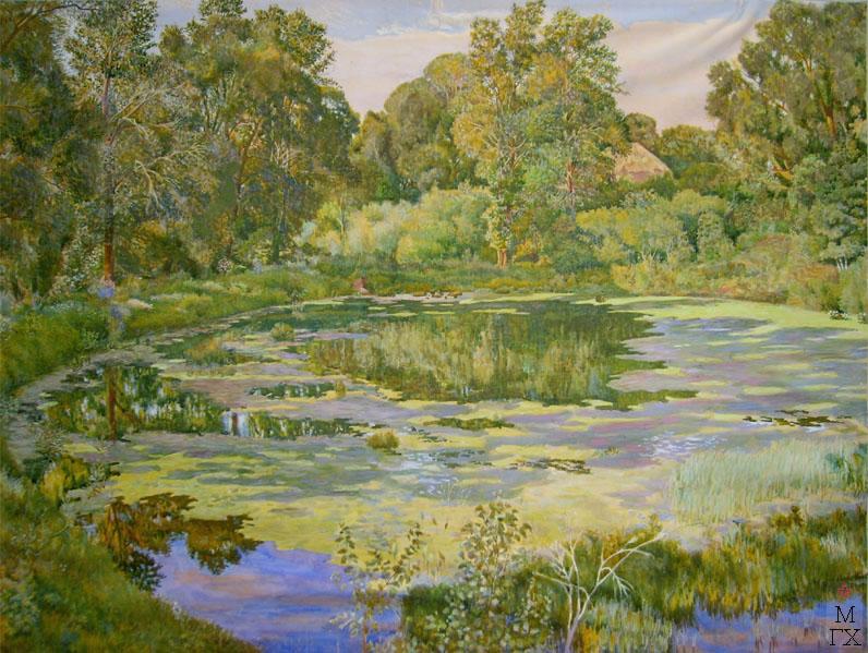 М.И. Климентов. Картина : Барский пруд. 1918 год. акварель. 76,2х48,2