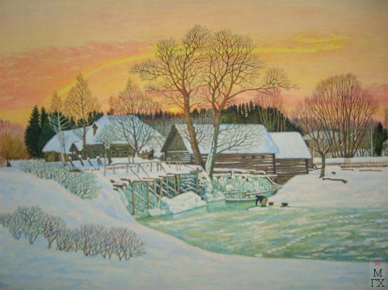 М.И. Климентов. Картина : Мельница зимой
