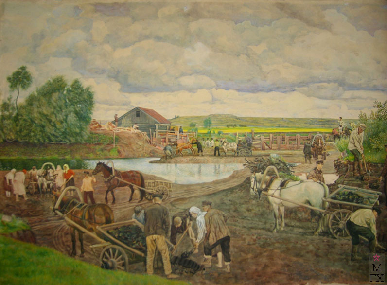 М.И. Климентов. Картина : Ремонт мельницы.1925. акварель, 70,3х46,7