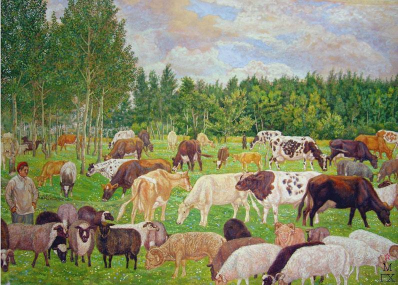 М.И. Климентов. Картина : Стадо на поляне 1938, акварель 70,7х47