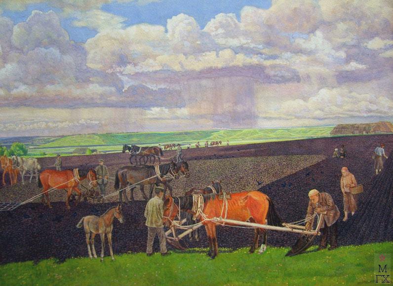М.И. Климентов. Картина : Работа в поле 1942г, акварель 57, 8х 39,3