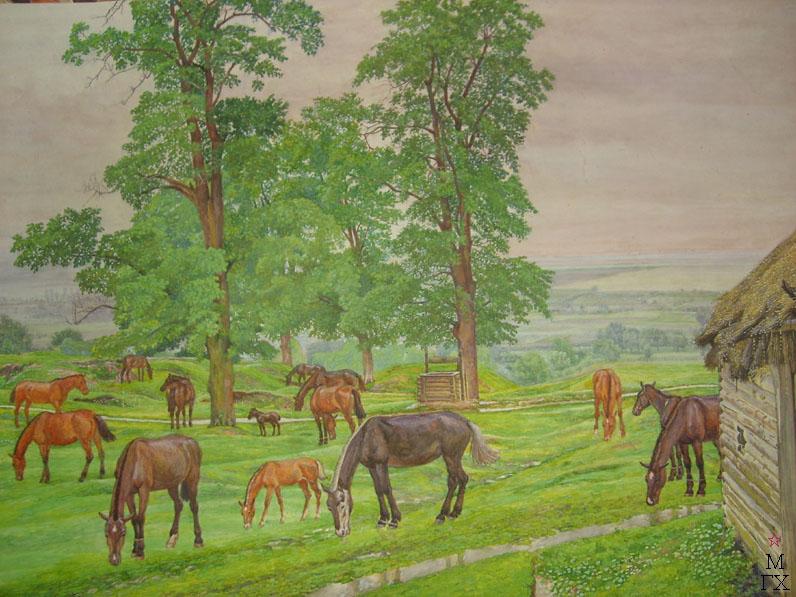 М.И. Климентов. Картина : Табун после дождя. акварель,1944, 58х43,5