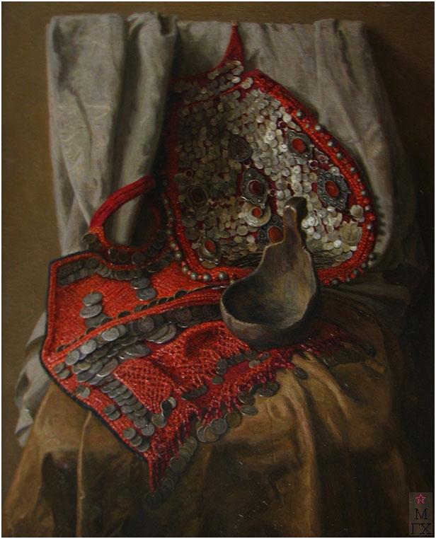 Е.М. Кугач. Башкирский костюм. 1993. х./м. 81х65.