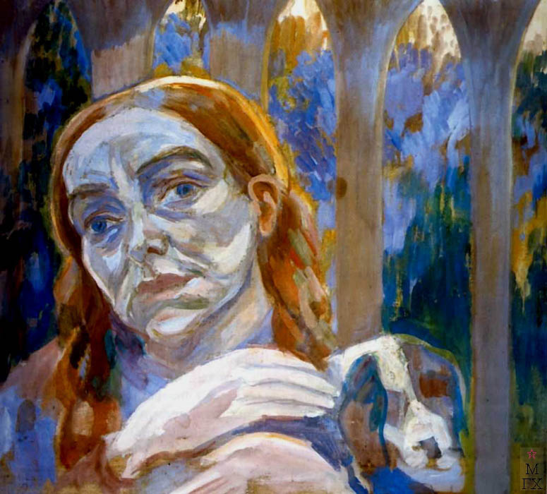 П.В. Кузнецов. Женщина с собачкой. 1909.