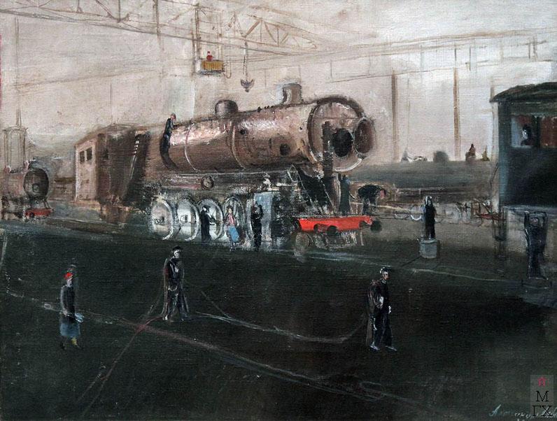 А.А. Лабас. Картина : Луганск. На заводе. 1935. Холст, масло. ГТГ.