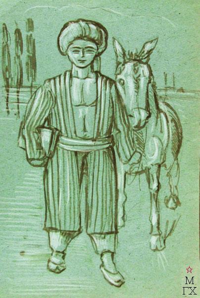 М.Р. Судковская-Лагранж. Картина : Мальчик с мулом. 1938. цвет. бум. см. техн. 10.5х32.5.  title=