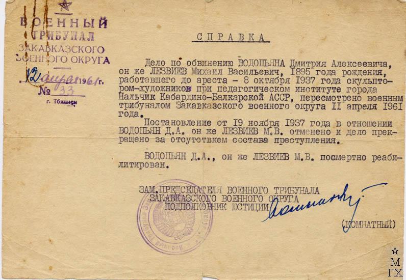 Справка о реабилетации. 1961 г.