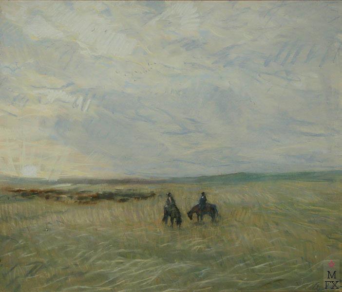 А.Н. Либеров. Ковыльная степь, 1978 г. Пастель. 89х98