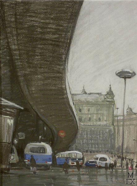 А.Н. Либеров. Из серии «По Венгрии». «Будапешт. Мост Эржебет». 1964 г. Б., пастель. 40х30,5.