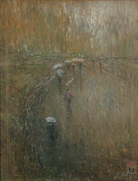 А.Н. Либеров. Дождь в парке. 1996 г. ДВП. Пастель, 66х51.