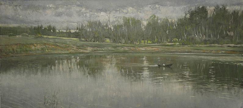 А.Н. Либеров. Утро на озере. 1994. Бум. пастель. 44х90.