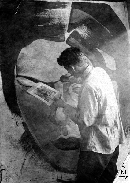 А.Н. Либеров. Работа над рекламным плакатом. Конец 1920-х гг.