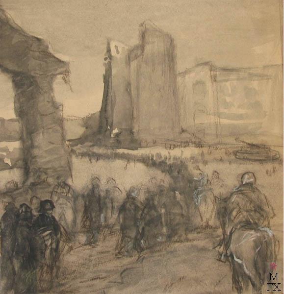 А.Н. Либеров. Из фронтового альбома. «Сталинград». 1943. Б.акварель, пастель