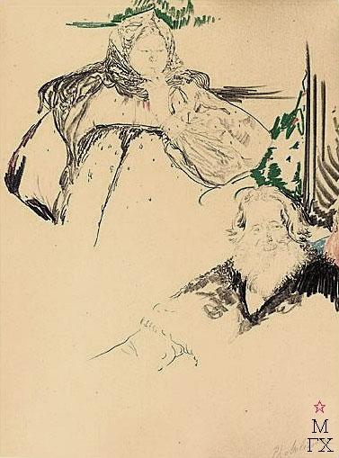 Ф.А. Малявин. Картина : Баба и мужик. Бумага, карандаш