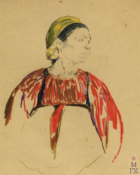 Ф.А. Малявин. Баба в красном сарафане и жёлтом платке. 1900-е гг. Бум., карандаш, акварель