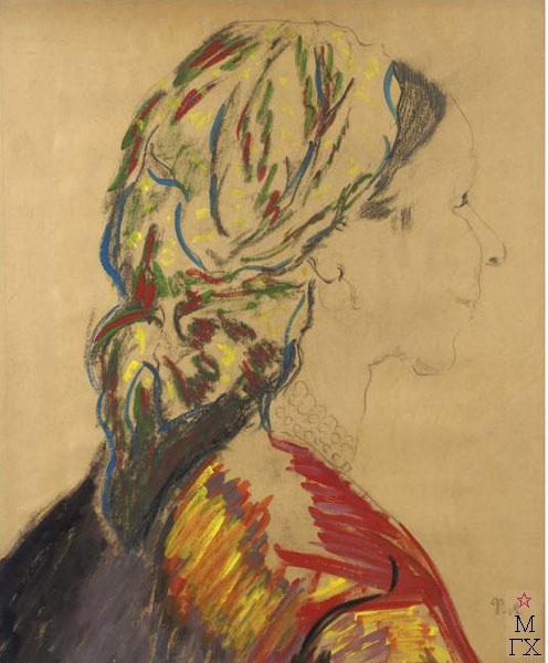 Ф.А. Малявин. Баба с бусами. 1900-е гг. Бум., карандаш, акварель