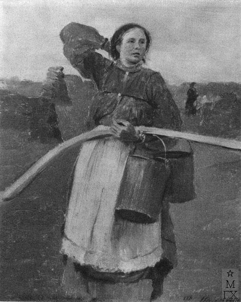 Ф.А. Малявин. Девушка с коромыслом и ведрами. 1890-е гг.