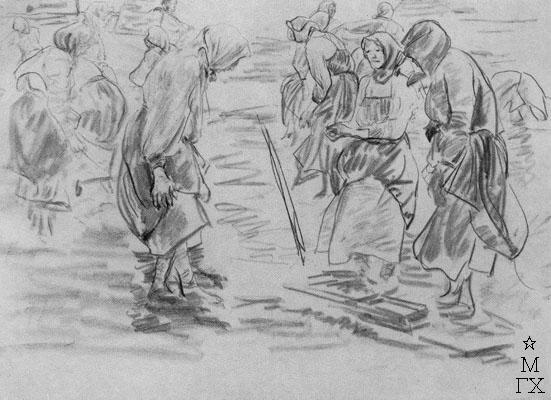 Ф.А. Малявин. Картина : Бабы у реки. 1890-е гг. Бумага, карандаш