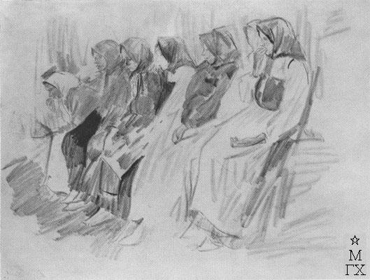 Ф.А. Малявин. Картина : Группа сидящих баб. 1890-е гг. Бумага, карандаш