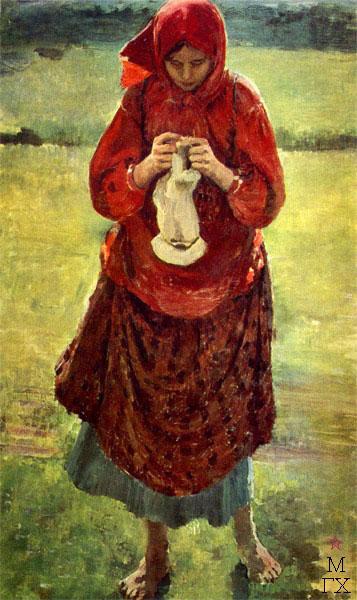 Ф.А. Малявин. Картина : Крестьянская девушка с чулком. 1895. Холст, масло. 141х81. ГТГ