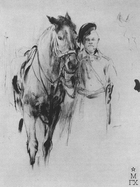 Ф.А. Малявин. Солдат с лошадью. 1890-е гг. Бумага, граф. кар.