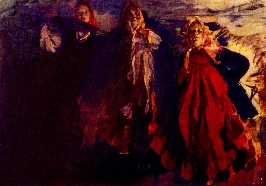 Ф.А. Малявин. Три бабы. 1902. Холст, масло. 215х305. Национальный музей современного искусства, Париж