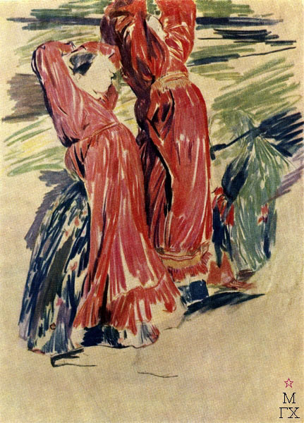 Ф.А. Малявин. Две девки. Бум., цвет. кар. Гос. Русский музей