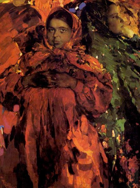 Ф.А. Малявин. Картина : Две девки. 1910-е гг. Холст, масло. 142.5х106.5. Гос. Руссий музей