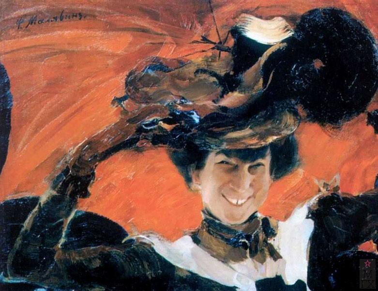 Ф.А. Малявин. Картина : Портрет М.К. Олив. 1922. Холст, масло.