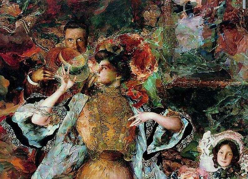 Ф.А. Малявин. Картина : Портрет автора с семьей (фрагмент). 1910