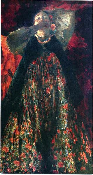 Ф.А. Малявин. Картина : Девка. 1903. Холст, масло. 206.3х115.6. ГТГ