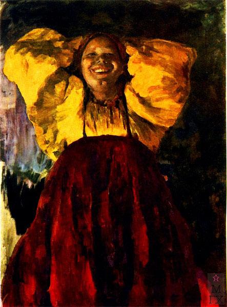 Ф.А. Малявин. Картина : Баба в желтом. 1903. Холст, масло. 134х97.5. ГТГ