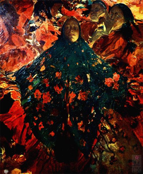 Ф.А. Малявин. Картина : Бабы (Зеленая шаль). 1914. Холст, масло. 230х205. Париж