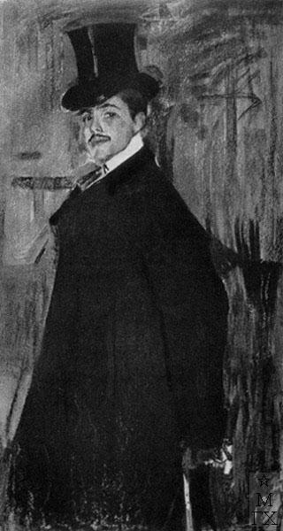 Ф.А. Малявин. Картина : Портрет Сергея Петровича Дягилева. 1902. Пастель.