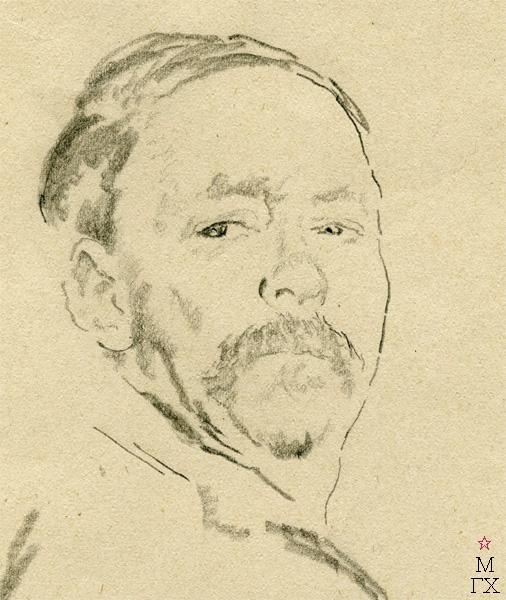 Ф.А. Малявин. Автопортрет (фрагмент). Бумага, карандаш
