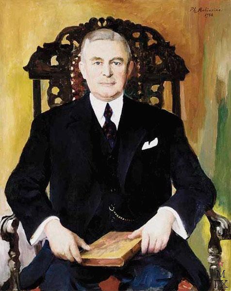 Ф.А. Малявин. Картина : Мужской портрет с книгой. 1940.