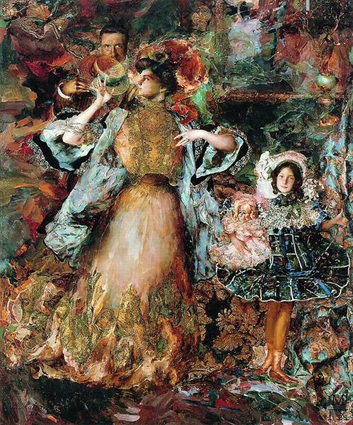 Ф.А. Малявин. Портрет автора с семьей. 1910. Холст, масло. 285х232
