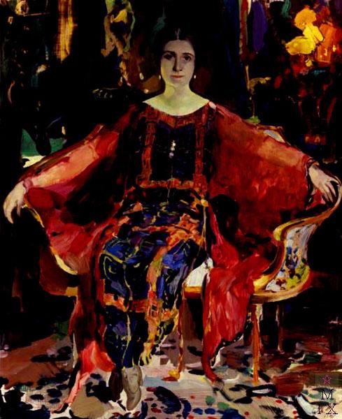 Ф.А. Малявин. Картина : Портрет балерины Александры Михайловны Балашовой. 1923. Картон, масло. 55.3х45.7