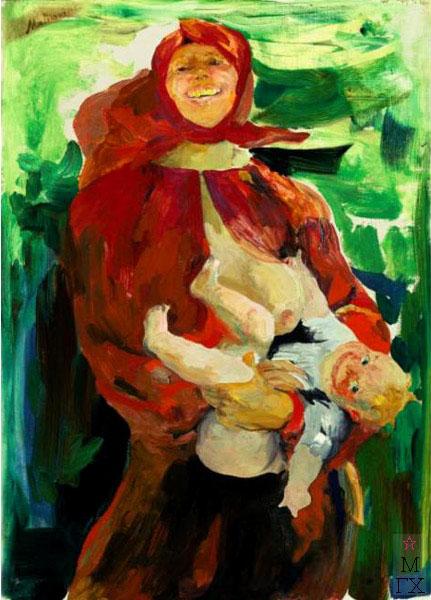 Ф.А. Малявин. Картина : Материнство. Холст, масло. 83.8х59.7