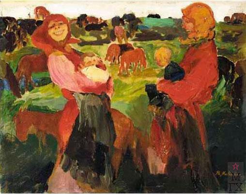 Ф.А. Малявин. Картина : Крестьянки в поле. Холст, масло. 56х72