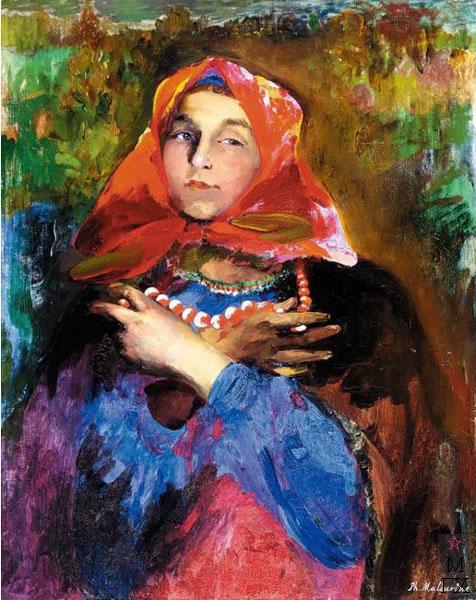 Ф.А. Малявин. Картина : Молодая крестьянка. Холст, масло.