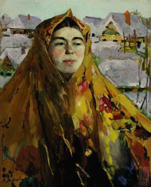 Ф.А. Малявин. Картина : Баба. Зима. Холст, масло