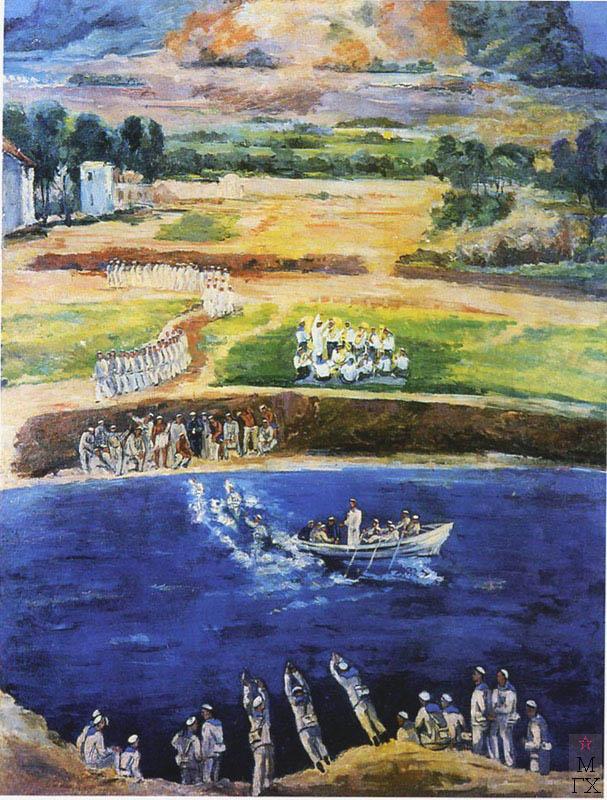 В.М. Мидлер. картина: Учебное плавание. 1933. Х.М. 150х120. Нукус