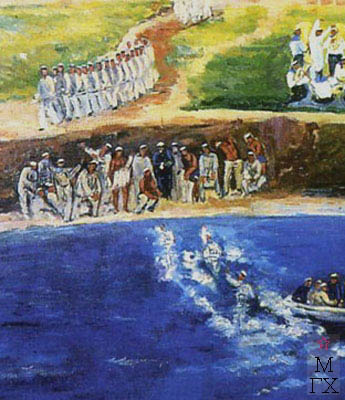 Мидлер В. М. Учебное плавание (фрагмент). 1933. Х.М. 150х120. Нукус